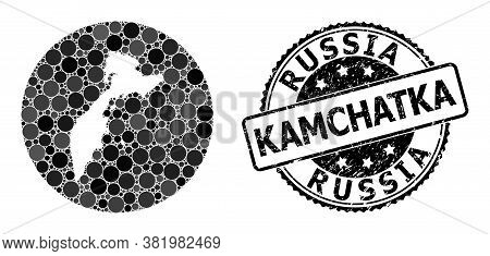Vector Mosaic Map Of Kamchatka Peninsula From Circle Items, And Grey Grunge Seal. Subtraction Circle