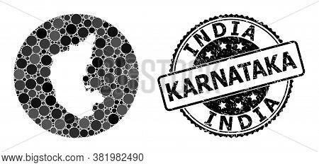 Vector Mosaic Map Of Karnataka State Of Spheric Elements, And Grey Watermark Seal Stamp. Stencil Rou
