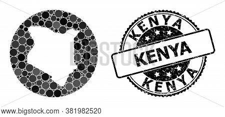 Vector Mosaic Map Of Kenya From Circle Dots, And Grey Scratched Seal. Subtraction Circle Map Of Keny