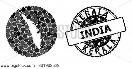 Vector Mosaic Map Of Kerala State With Circle Blots, And Grey Scratched Stamp. Subtraction Circle Ma