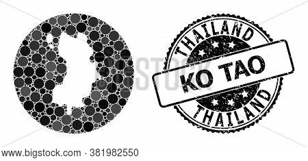 Vector Mosaic Map Of Ko Tao With Round Dots, And Gray Grunge Stamp. Stencil Round Map Of Ko Tao Coll