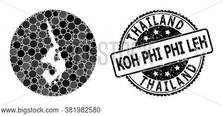 Vector Mosaic Map Of Koh Phi Leh Of Round Dots, And Gray Watermark Stamp. Stencil Round Map Of Koh P