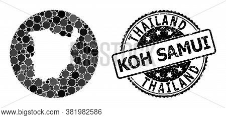 Vector Mosaic Map Of Koh Samui With Circle Elements, And Grey Watermark Seal. Subtraction Round Map
