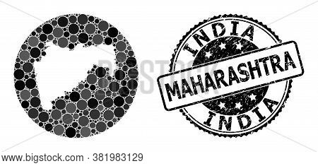 Vector Mosaic Map Of Maharashtra State From Circle Elements, And Gray Scratched Stamp. Hole Circle M
