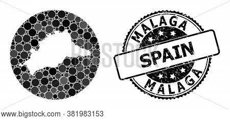 Vector Mosaic Map Of Malaga Province With Circle Spots, And Grey Rubber Seal Stamp. Subtraction Circ