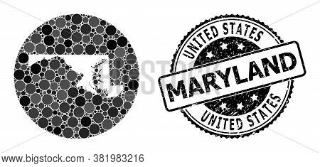 Vector Mosaic Map Of Maryland State With Spheric Dots, And Gray Watermark Stamp. Stencil Round Map O