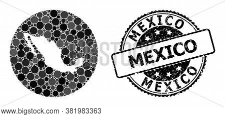 Vector Mosaic Map Of Mexico Of Spheric Dots, And Grey Grunge Seal Stamp. Stencil Circle Map Of Mexic