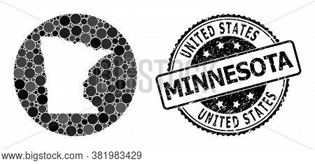Vector Mosaic Map Of Minnesota State With Round Dots, And Gray Grunge Seal. Hole Round Map Of Minnes