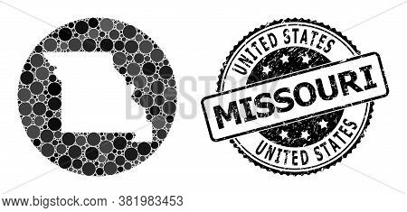 Vector Mosaic Map Of Missouri State With Round Items, And Gray Scratched Seal. Stencil Round Map Of