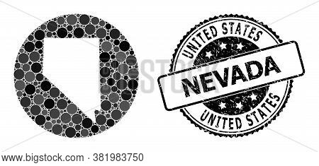Vector Mosaic Map Of Nevada State With Round Spots, And Grey Rubber Seal Stamp. Subtraction Circle M