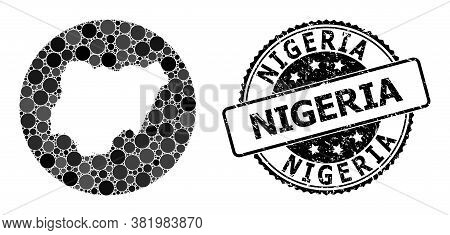 Vector Mosaic Map Of Nigeria With Round Items, And Gray Rubber Stamp. Subtraction Round Map Of Niger
