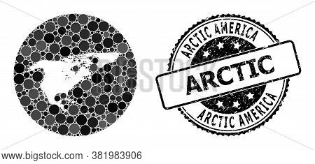 Vector Mosaic Map Of North America And Greenland With Spheric Elements, And Gray Watermark Seal. Ste