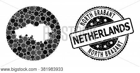 Vector Mosaic Map Of North Brabant Province With Round Dots, And Grey Rubber Seal Stamp. Subtraction