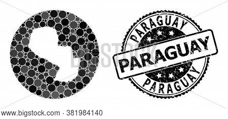 Vector Mosaic Map Of Paraguay From Circle Elements, And Grey Scratched Seal. Subtraction Circle Map