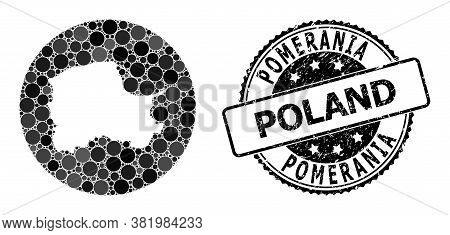 Vector Mosaic Map Of Pomerania Province With Round Blots, And Grey Watermark Seal. Hole Round Map Of