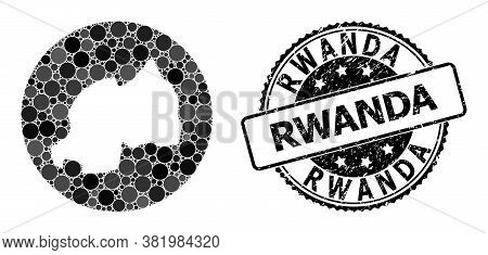Vector Mosaic Map Of Rwanda With Round Items, And Grey Scratched Seal. Hole Round Map Of Rwanda Coll