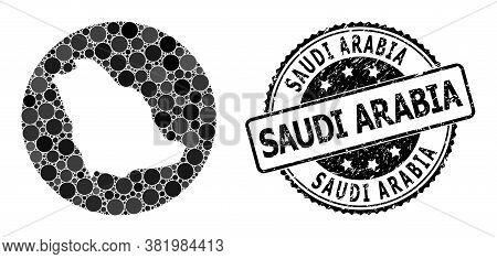 Vector Mosaic Map Of Saudi Arabia Of Round Blots, And Grey Watermark Seal. Hole Round Map Of Saudi A