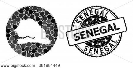 Vector Mosaic Map Of Senegal With Spheric Dots, And Gray Grunge Stamp. Subtraction Round Map Of Sene
