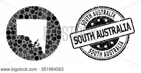 Vector Mosaic Map Of South Australia With Circle Spots, And Grey Watermark Seal Stamp. Stencil Circl