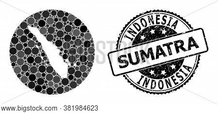 Vector Mosaic Map Of Sumatra Island With Circle Elements, And Grey Scratched Seal Stamp. Subtraction