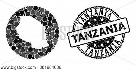 Vector Mosaic Map Of Tanzania With Spheric Blots, And Grey Grunge Seal Stamp. Stencil Circle Map Of