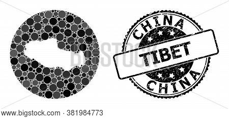 Vector Mosaic Map Of Tibet With Spheric Elements, And Gray Watermark Seal Stamp. Subtraction Circle
