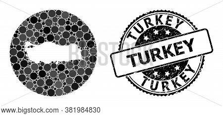 Vector Mosaic Map Of Turkey With Circle Blots, And Gray Watermark Seal Stamp. Subtraction Circle Map