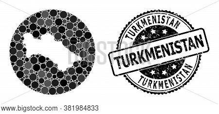 Vector Mosaic Map Of Turkmenistan With Circle Elements, And Grey Scratched Stamp. Subtraction Circle