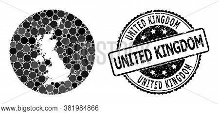 Vector Mosaic Map Of United Kingdom With Circle Items, And Gray Grunge Seal. Stencil Circle Map Of U