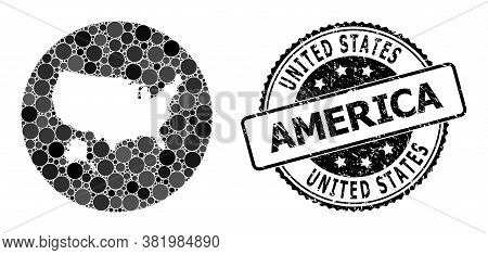 Vector Mosaic Map Of Usa And Alaska From Spheric Items, And Gray Rubber Stamp. Subtraction Round Map