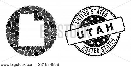 Vector Mosaic Map Of Utah State With Circle Elements, And Gray Watermark Seal. Hole Circle Map Of Ut