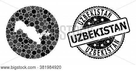 Vector Mosaic Map Of Uzbekistan With Round Items, And Gray Rubber Seal Stamp. Hole Round Map Of Uzbe