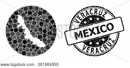 Vector Mosaic Map Of Veracruz State With Round Items, And Grey Rubber Seal. Subtraction Circle Map O