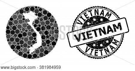 Vector Mosaic Map Of Vietnam Of Round Dots, And Grey Watermark Seal. Hole Round Map Of Vietnam Colla