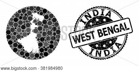 Vector Mosaic Map Of West Bengal State With Spheric Blots, And Grey Grunge Stamp. Stencil Circle Map