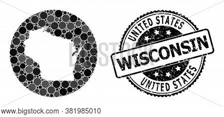 Vector Mosaic Map Of Wisconsin State With Round Items, And Grey Watermark Stamp. Stencil Circle Map