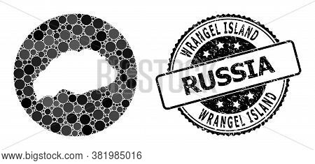 Vector Mosaic Map Of Wrangel Island From Circle Items, And Grey Watermark Stamp. Hole Circle Map Of