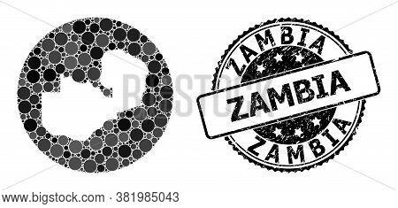 Vector Mosaic Map Of Zambia With Spheric Elements, And Grey Grunge Seal. Stencil Circle Map Of Zambi