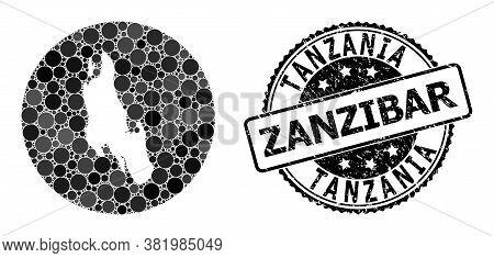 Vector Mosaic Map Of Zanzibar Island With Circle Elements, And Grey Watermark Stamp. Stencil Circle