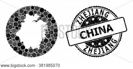 Vector Mosaic Map Of Zhejiang Province With Circle Items, And Grey Watermark Seal Stamp. Subtraction