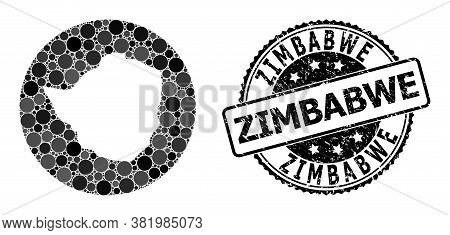 Vector Mosaic Map Of Zimbabwe With Round Elements, And Gray Grunge Seal Stamp. Hole Round Map Of Zim