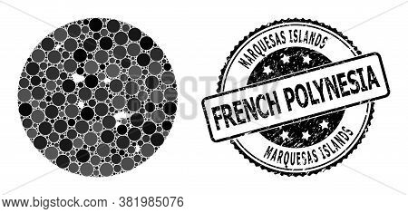 Vector Mosaic Marquesas Islands Map Of Round Dots, And Gray Rubber Seal Stamp. Hole Round Marquesas