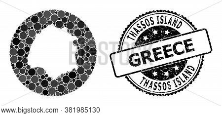 Vector Mosaic Thassos Island Map With Round Dots, And Grey Rubber Stamp. Stencil Round Thassos Islan