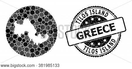 Vector Mosaic Tilos Island Map With Round Dots, And Grey Watermark Stamp. Subtraction Circle Tilos I