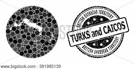 Vector Mosaic Turks And Caicos Islands Map Of Circle Items, And Grey Rubber Stamp. Subtraction Circl