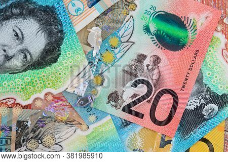 Closeup Of Various Australian Dollar Notes For Financial Background
