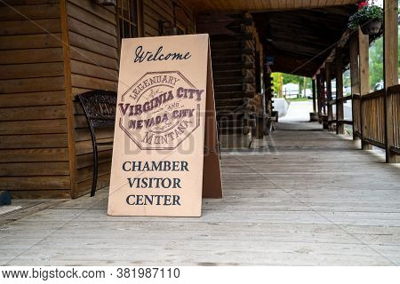 Virginia City, Montana - June 29. 2020: Sign For Virginia City And Nevada City Ghost Towns Chamber O