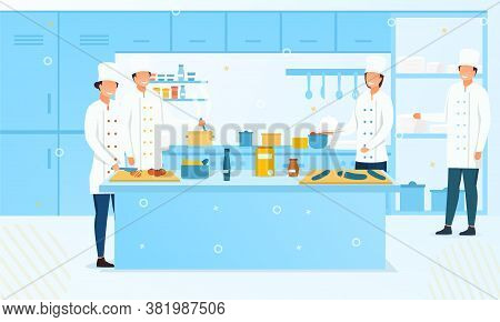 Group Of Chefs Or Cooks In A Commercial Kitchen Preparing Fresh Food For Sale, Colored Vector Illust