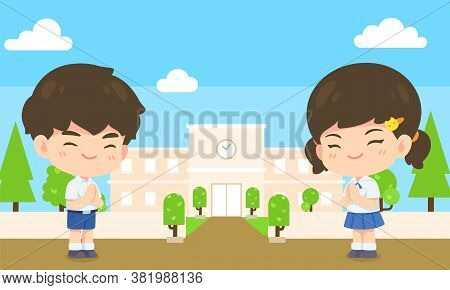 Boy And Girl Student In Pay Respect Post On School At Background