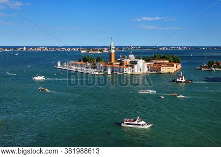 Aerial View Of San Giorgio Maggiore Island In Venice, Italy. Venice Is Situated Across A Group Of 11